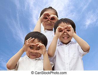 gyerekek, három, ázsiai