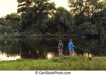 gyerekek, halászat