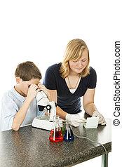 gyerekek, használ, mikroszkóp