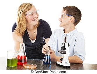 gyerekek, having móka, noha, tudomány