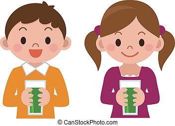 gyerekek, ivás, növényi juice