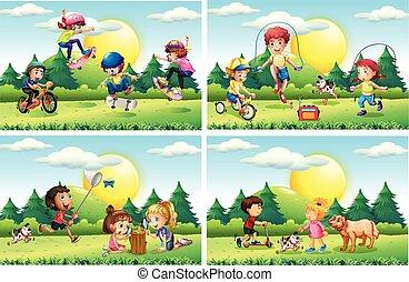 gyerekek, játék, a parkban