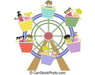 gyerekek, játék, alatt, a, vidámpark