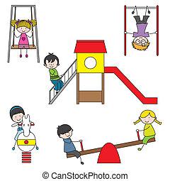 gyerekek, játék, -ban, a, liget