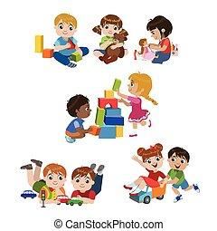 gyerekek, játék, bent, állhatatos