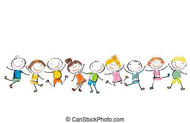 gyerekek, játék, boldog