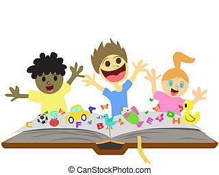 gyerekek, játék, előtt, könyv