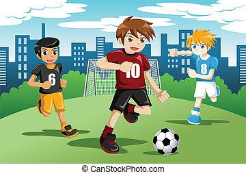 gyerekek, játék futball