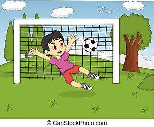 gyerekek, játék futball, a parkban