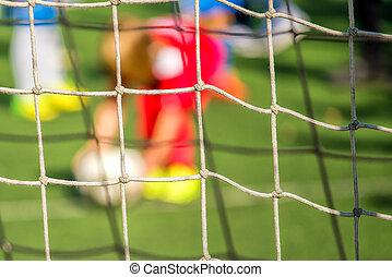 gyerekek, játék futball, büntetőrugás