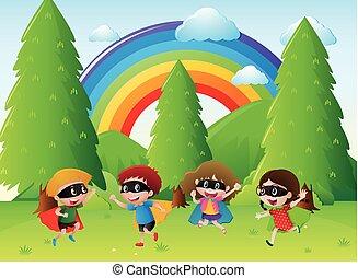 gyerekek, játék, hős, a parkban