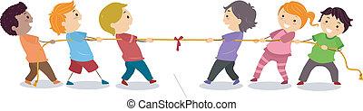 gyerekek, játék, kötélhúzás