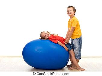 gyerekek, játék, noha, koton labda