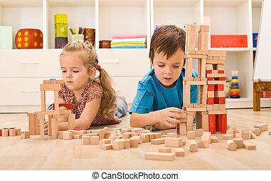 gyerekek, játék, noha, wooden gátol