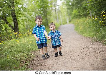 gyerekek, játék, szabadban, képben látható, egy, napos, nyár, day.