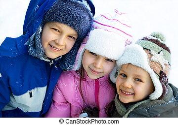 gyerekek, játék, tél, nap