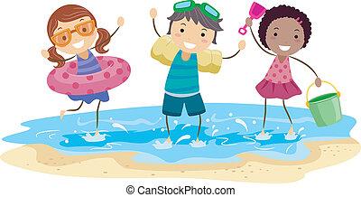gyerekek, játék tengerpart