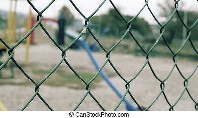 gyerekek, játszótér, agains, kerítés