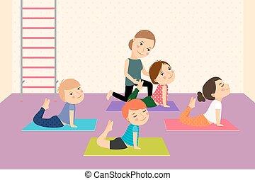gyerekek, jóga, noha, instructor.