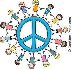 gyerekek, körülvevő, egy, béke cégtábla