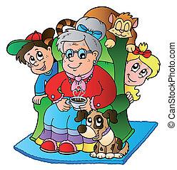 gyerekek, karikatúra, nagyanyó, két