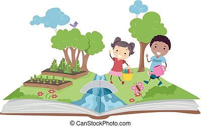 gyerekek, kertészkedés, feláll, ábra, könyv, váratlanul, stickman