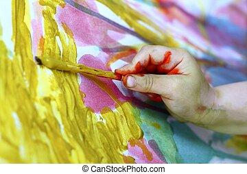 gyerekek, kevés, művész, festmény, kéz, ecset, színes
