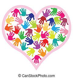 gyerekek, kezezés prints, alatt, szív