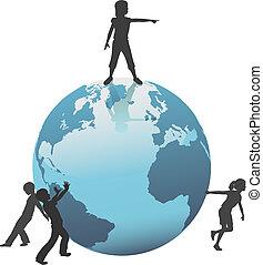 gyerekek, lépés, jövő, földdel feltölt, világ, megment