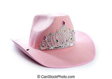 gyerekek, leány, rózsaszínű, cowgirl, fejtető, kalap