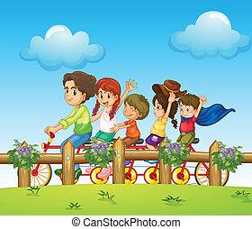 gyerekek, lovaglás, bicikli