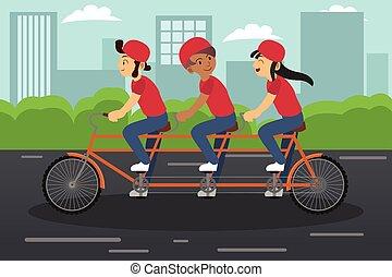 gyerekek, lovaglás, tandem bicikli