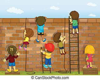 gyerekek, mászó, képben látható, egy, fal