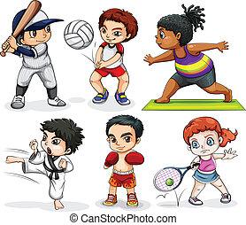 gyerekek, megnyerő, alatt, különböző, elfoglaltságok