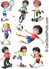 gyerekek, megnyerő, alatt, különböző, sport tevékenységek
