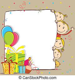 gyerekek, misét celebráló, születésnap