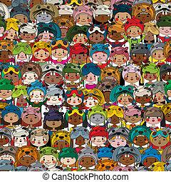 gyerekek, motívum, színezett