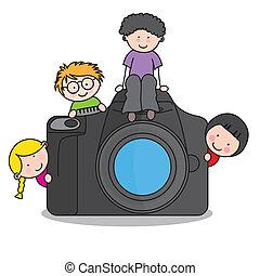 gyerekek, noha, egy, fényképezőgép
