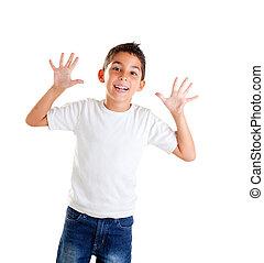 gyerekek, noha, furcsa, kifejezés, gesztus, nyílik, ujjak