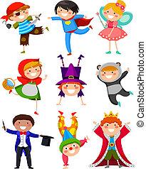 gyerekek, noha, jelmezbe öltöztet