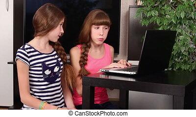 gyerekek, noha, laptop