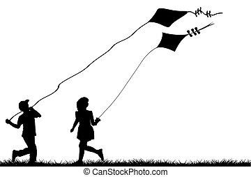 gyerekek, noha, papírsárkány