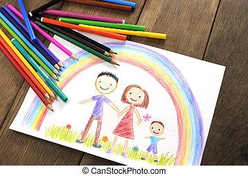 gyerekek, rajz, család, boldog