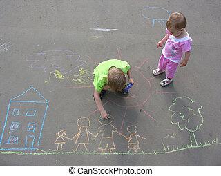 gyerekek, rajz, képben látható, aszfalt, család, épület