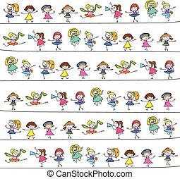 gyerekek, rajz, kéz, boldog