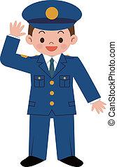 gyerekek, rendőrség tiszt