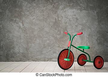 gyerekek, retro, tricikli