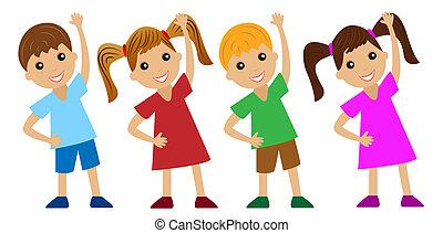 gyerekek, sport, jár