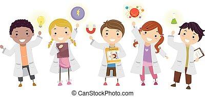 gyerekek, stickman, diákok, labor, ábra, fizika