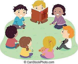 gyerekek, stickman, felolvasás, ábra, biblia